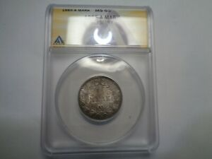 german empire one mark, 1885-a graded by anacs, ms 65.