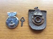 Old Vintage Locks, 1 Chrome Silver + Key, 1 Leather, Box / Suitcase Locks? Craft