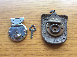 Old Vintage Locks, 1 Chrome Silver + Key, 1 Leather, Box / Suitcase Locks? Craft