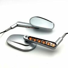 Silver Rear View Left & Right Mirrors with LED Stem Fit For Harley VRSCF V-Rod