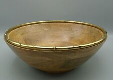 Pier 1 Natural Wood Bowl with Gold Rim