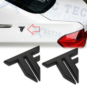 3D Logo TF Transformers Metal Car Badge Emblem Sticker Matte Black Decals 2pcs