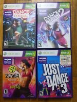 Just Dance 3 + Dance Central 1 + 2 + Zumba Fitness Kinect XBox 360 Lot of 4