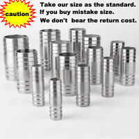 Stainless Steel Straight Hose Joiner Barbed Connector Air Fuel Water Pipe Gas
