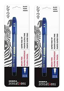 Zensations Brush Pen, Brush Tip, Black Water-Resistant Ink - 2-Count Fine Tip