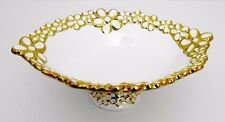 Gold & white Fancy Pedestal Ceramic Plate / Home Decorative