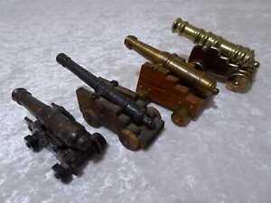 4 x Modell Kanone Metall und Holz - Vintage-Stil Antik-Design - Konvolut
