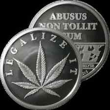 1/2 OZ SILVER COIN *LEGALIZE IT* CANNABIS POT COIN AOCS 1/2 OUNCE .999 SILVER