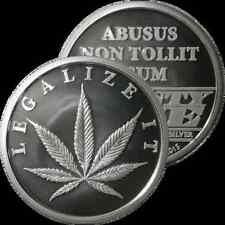 1/2 OZ SILVER COIN *LEGALIZE IT* CANNABIS POT COIN AOCS 1/2 OUNCE .999 SILVER