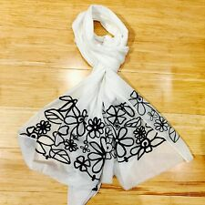 Scarf Bandana Shawl Hand Embroidered Linen Ivory White casual Neck Scarf Stoll