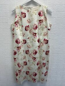 Hobbs cream pink floral patternered sleeveless dress uk 14 ladies fashion