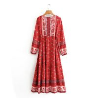 Boho Maxi Dress Size 10 12 M Long Sleeve Floral Gypsy Summer Modest Hippie Chick