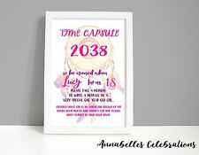Boho - Time Capsule 1st Birthday Pink Feathers - Baby First Party Keepsake