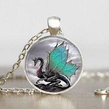 Vintage Dragon Cabochon Tibetan silver Glass Chain Pendant Necklace Jewelry