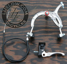 Silver Old School BMX Bike MX Front Brake Lever Cable Caliper Cruiser Bicycle