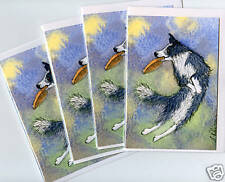 4 Border Collie dog puppy frisbee cards Susan Alison