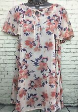 GEORGE 12 vgc peach blue floral frill sleeve tie neck chiffon long tunic top