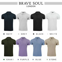 Brave Soul Plain Polo Embossed Stripe Soft Pique Helix Top