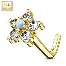 Rod/Stem L Flower and Opal White Piercing Nose Yellow Gold 14 Carat