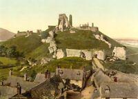 Corfe Castle, Dorset, 1890's, Vintage English Photography Poster