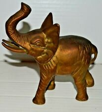 "Vintage Solid Brass Elephant Figurine With It's Trunk Up 6"" Long"