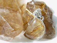 RUTILATED QUARTZ IN 925 SILVER PENDANT FROM INDIA #17087