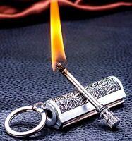 Permanent Lighter Matches Kerosene Mini Metal Portable Key Chain Outdoor Camping