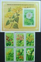 Sao Tome & Principe-Medicinals flowers-6 St.+1S/Sh.,MNH**.STP 15