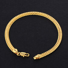 Mens Jewelry Braclet 18K Yellow Solid Gold Filled Vintage 7.5inch,Hot Heavy