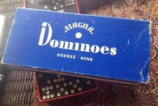 Box of Vintage Wooden Magna Double Nine Dominoes Made In The USA