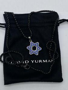David Yurman Silver Star of David with Blue sapphires