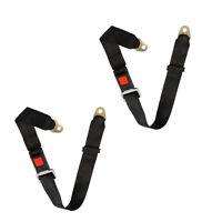 2Pcs Adjustable Seat Belt Car Lap Belt Universal 2 Point Safety Travel Black