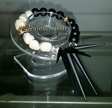 925 Gold Sterling Silver MOP Matte Black Spike Tan Gemstone Bracelet Arm Candy