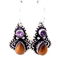 ED10 CUTE TIGER EYE & AMETHYST STERLING SILVER 9250 DANGLE EARRINGS