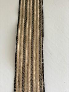 "10 Yds Of 2 1/2"" Wired Black & Tan Ticking Stripe Faux Linen Ribbon"