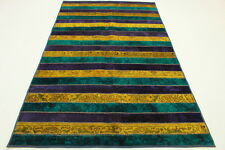 Patchwork Orient Tapis Vintage 250x160 turquoise jaune mauve Used Look handmade