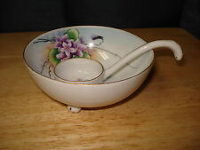 Vintage Meito Japan Footed Mayo Bowl with Ladle Hand Painted Purple Florals