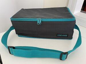 Vintage 90's Case Logic 60 Cassette Tape Holder Case Black/Blue Zipper Strap