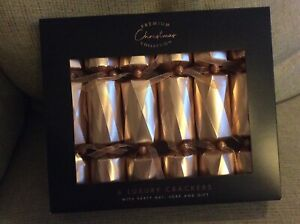 "BNIB New 6 Luxury Christmas Crackers 8"" - Rose Gold - Gift Hat Joke"
