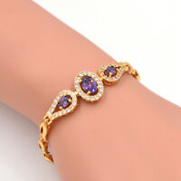 Fashion 18K Gold Plated Women Oval Cubic Zirconia CZ Charm Bracelet Jewelry Gift