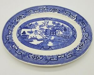 "HOMER LAUGHLIN Blue Willow transferware platter H43N6 mad USA 10X14"" oriental"