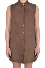 VINCE Brown Snap Front GOAT LEATHER Luxury Womens Dress - Size 4