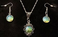 2pcs SET Mermaid Necklace & earrings Dragon Egg Pendant Game Of Thrones Scale