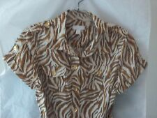 Woman's Brown/Beige Print Dress from Charter Club Petite Size 8P