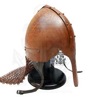 Medieval Steel Viking Nasal Helmet With Chain mail Hand Forged Rusted Antique