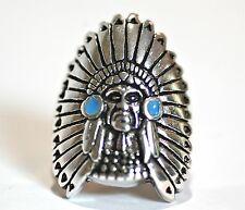 Native American ring , with full headdress, .925 Sterling Silver, blue accents.