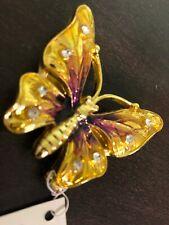 Bejeweled Enamel Trinket Jewelry Box, Opens w/ Magnet, Small Butterfly