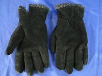 NOVAKID by ARIS VINTAGE Black Suede Leather WINTER GLOVES FLEECE LINED sz M