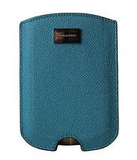 Nuevo Dolce & Gabbana Funda de Teléfono Cuero Azul Silver Logo 11.5cm X 8cm