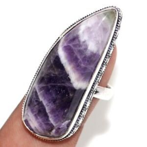 Banded Amethyst 925 Silver Plated Gemstone Handmade Ring us 8 Jewelry Gift GW